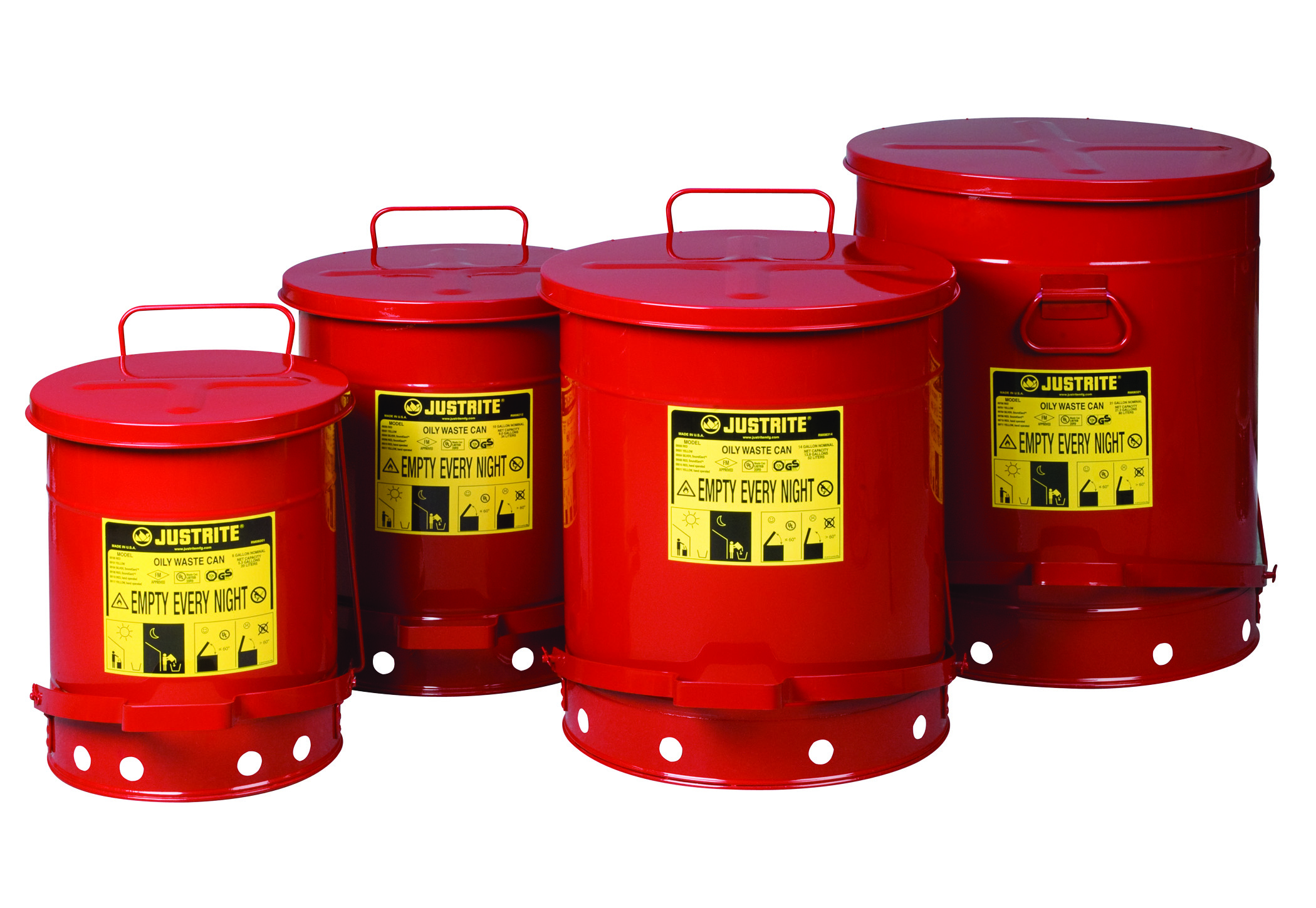 Justrite Solvent Or Flammable Waste Fire Safety Bin Oily
