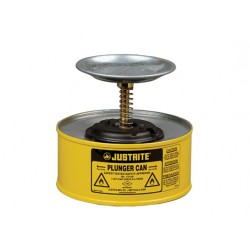 1 Litre Plunger Can for dispensing flammable liquids - Yellow - Justrite 10018