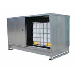 Galvanised steel IBC and drum storage unit to hold 8x205L drums or 2x1000L IBC's
