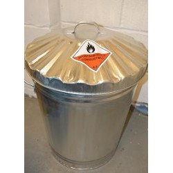 Flammable waste container galvanised bin - budget range 90 litre