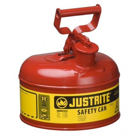 Flammable Liquid Safety Cans x2 - Justrite Type 1 - 4  litre - Bulk Buy Deal