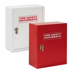 Red Metal Fire Safety Document Cabinet with Hasp lock