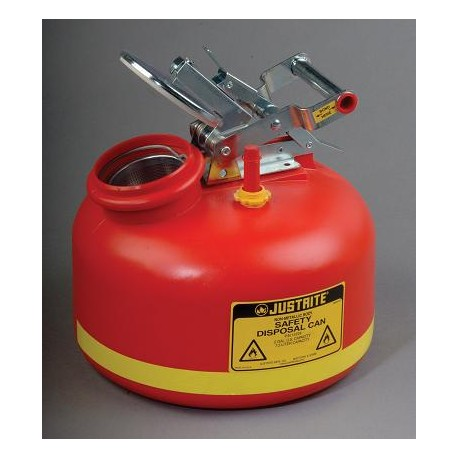 Safety Can for liquid disposal - Justrite - 7.5  litre - with fill gauge-14265