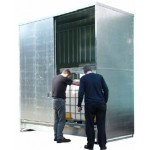 Galvanised steel IBC and drum storage unit to hold 16x205L drums or 4x1000L IBC's