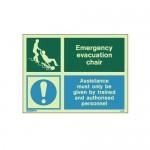 Evacuation Chair Photoluminescent Sign